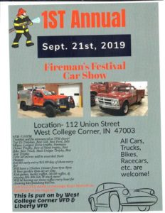 First Annual Fireman's Festival & Car Show @ West College Corner | Indiana | United States