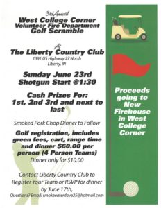 3rd Annual West College Corner Volunteer Fire Department Golf Scramble @ Liberty Country Club | Liberty | Indiana | United States